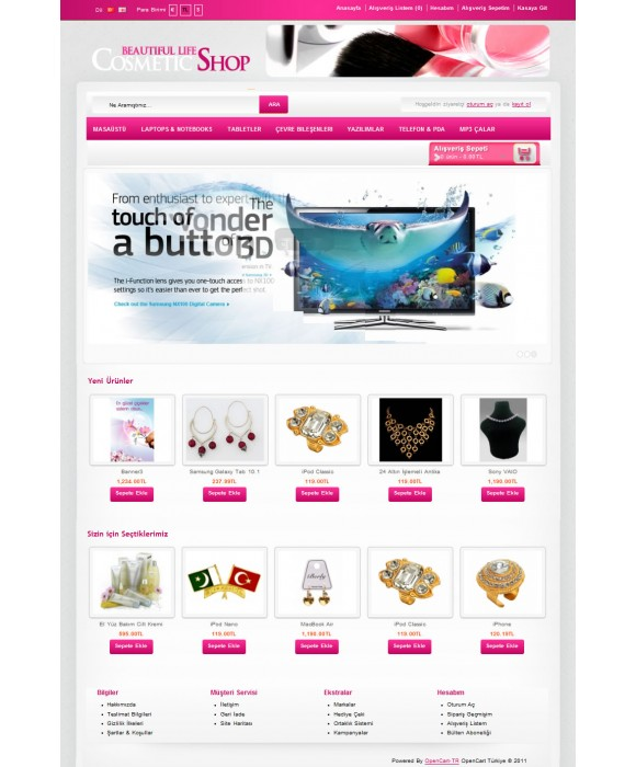 Opencart Cosmetic-Shop 1.5.1.x Tema